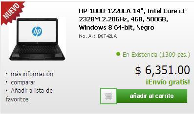CyberPuerta: laptop HP con Intel Core i3, 4GB de RAM y Windows 8 $6,351