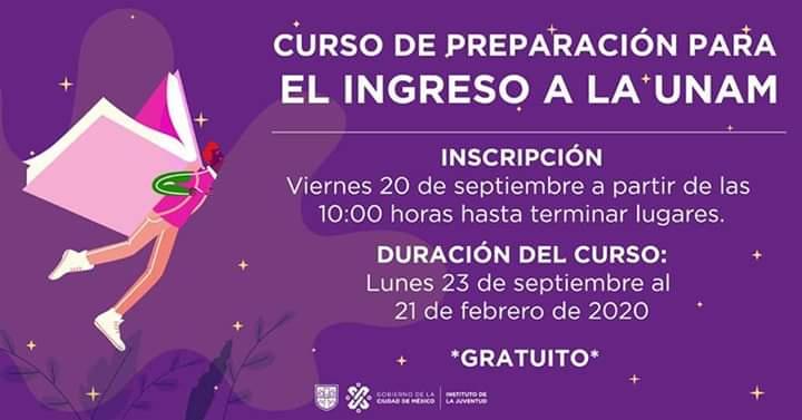 INJUVE curso gratuito de preparación para ingresar a la UNAM