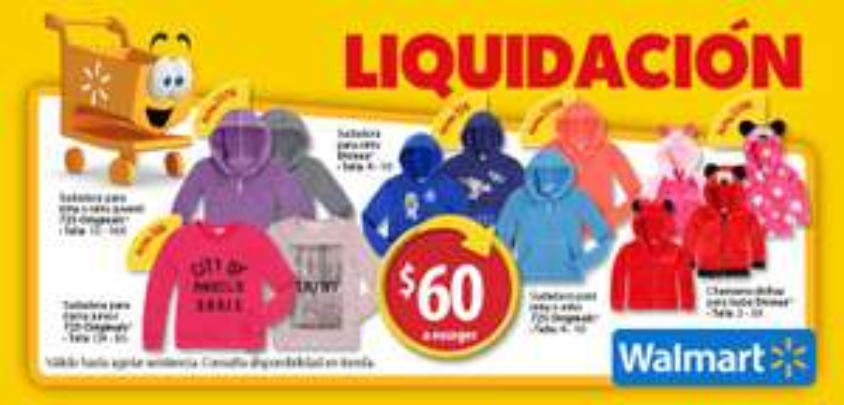 Walmart: Variedad de Sudaderas y Chamarrs para toda la familia a precio de liquidación