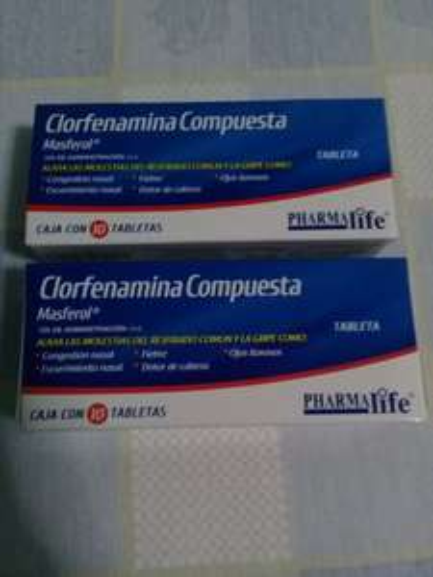 Farmacia Guadalajara: clorfenamina compuesta (antigripal) 2× $8.50