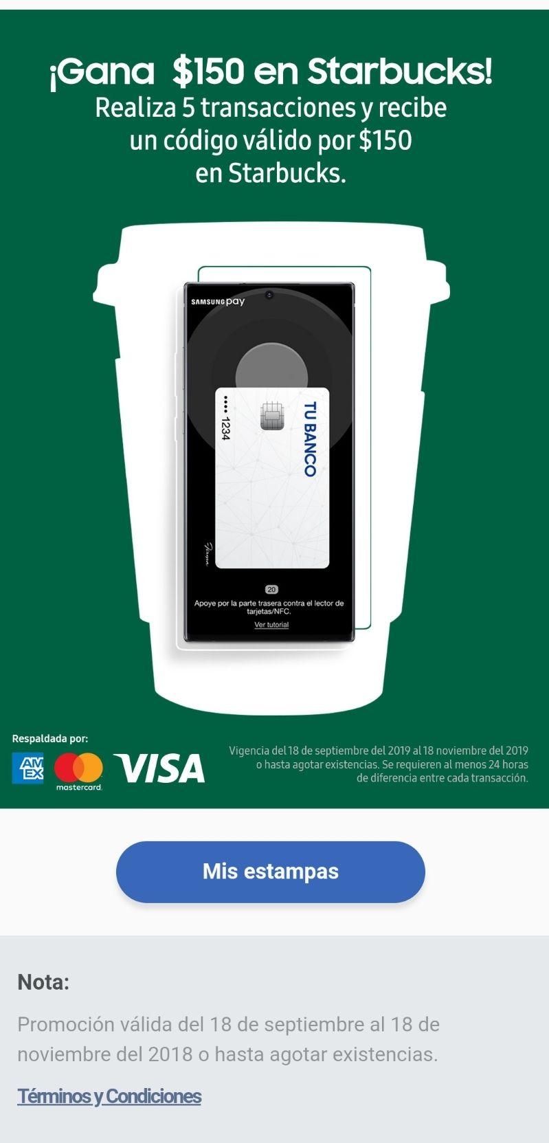 Samsung Pay: Gana $150 en Starbucks realizando 5 transacciones