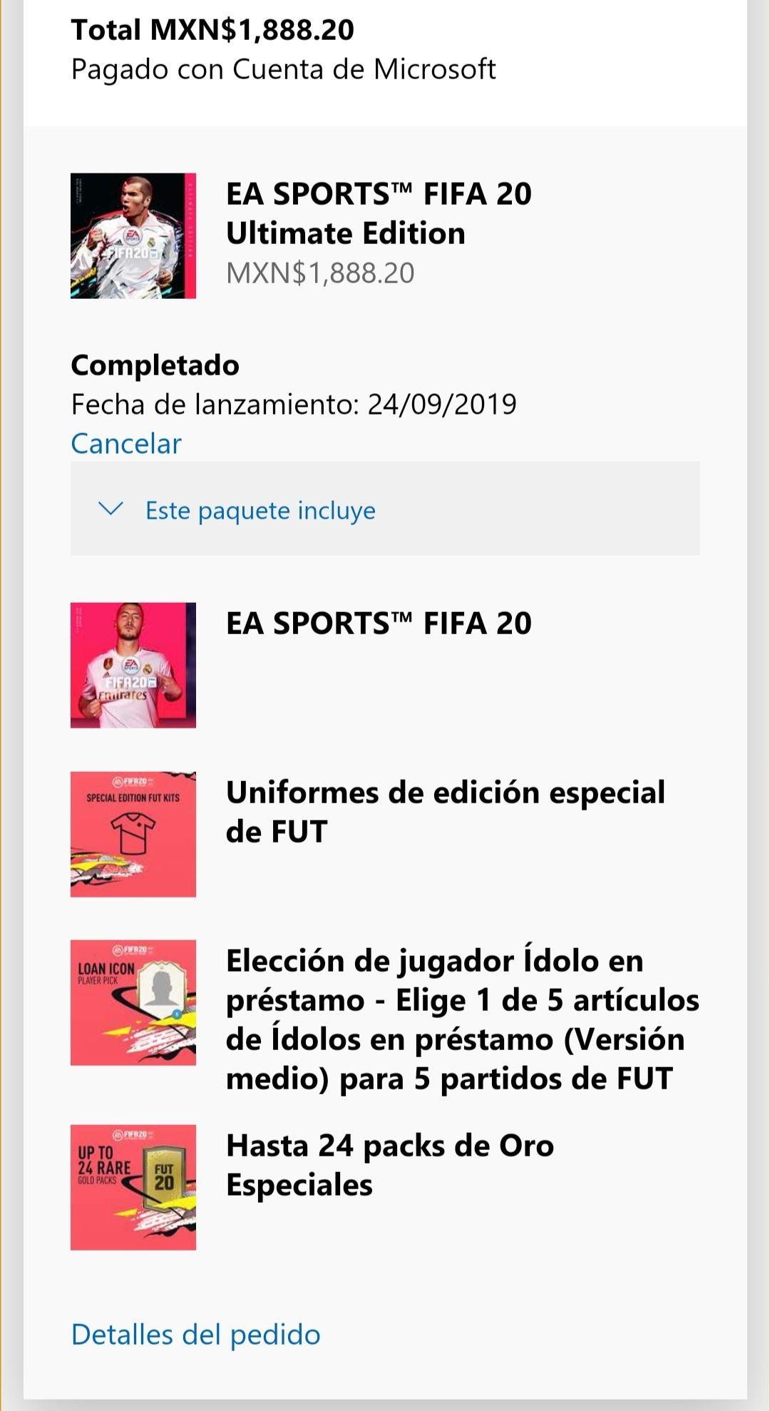 FIFA 20 ultimate  (favor de leer la descripción)
