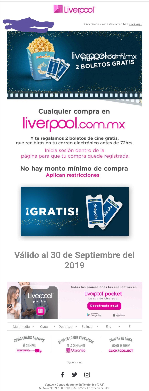 Liverpool: Boletos para Cinepolis al hacer una compra (usuarios seleccionados)