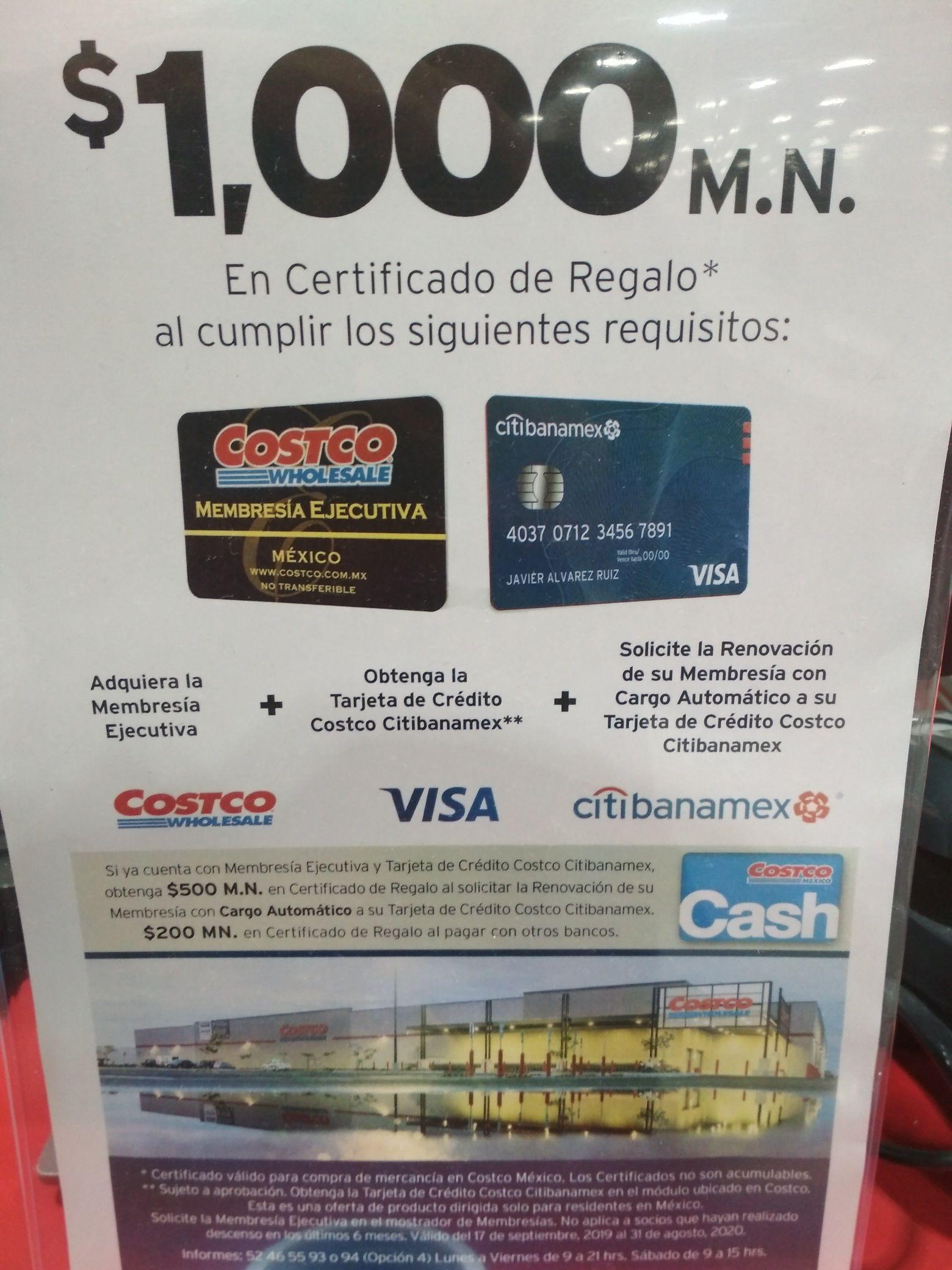 Costco: Certificado de regalo $1,000 al adquirir Membresía Ejecutiva, tarjeta de crédito y pedir renovación automática