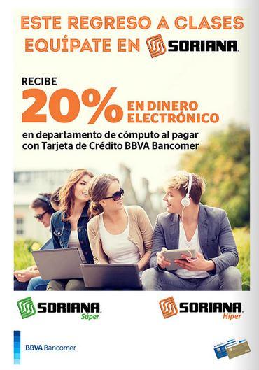 Soriana: 20% de bonificación en computadoras con Bancomer (+20% en laptops Lenovo)
