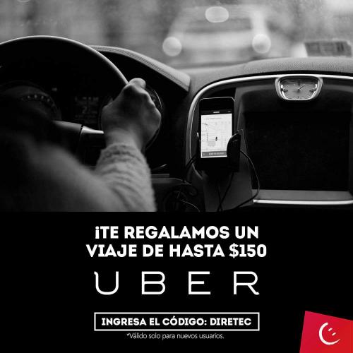 UBER: Viaje de hasta $150 para usuarios nuevos (DIRETEC)