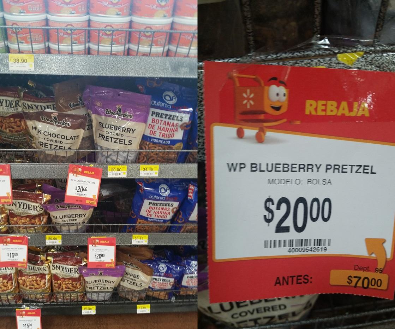 Pretzel cubierto de confiteria de $70 a $20 en Walmart gomez morin Monterrey