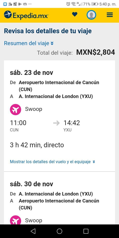 Expedia: Vuelo Cancun - London Canada, Ida y vuelta (del 23 al 30 de noviembre)