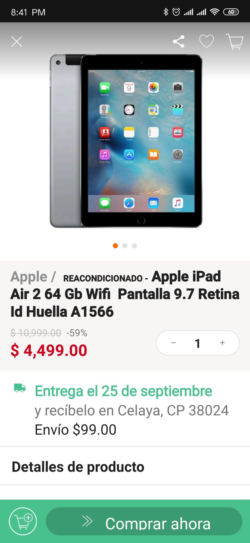 Linio: iPad Air 2 de 64gb Reacondicionado