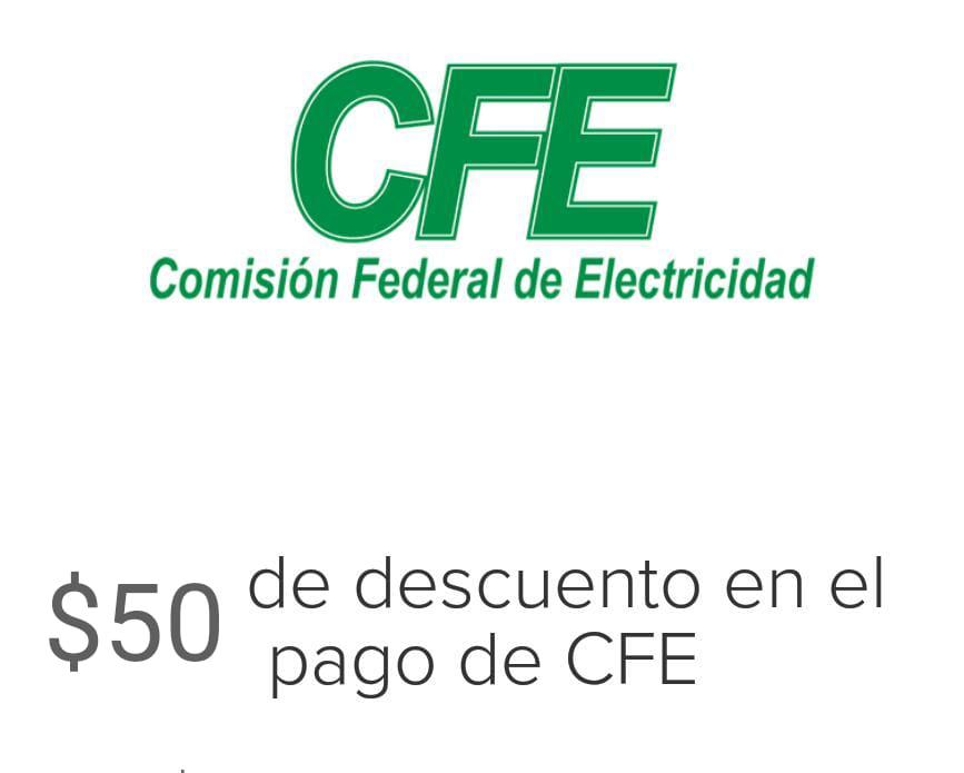 Mercado Pago : $50 de descuento en pago a CFE
