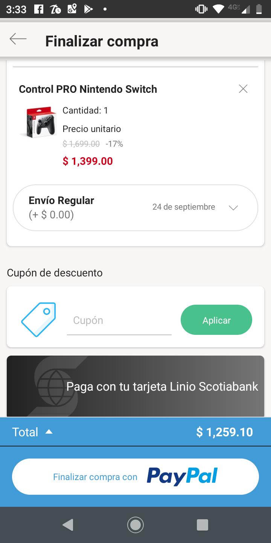 Linio App: NUEVO Nintendo Switch Pro Controller (pagando con PayPal)