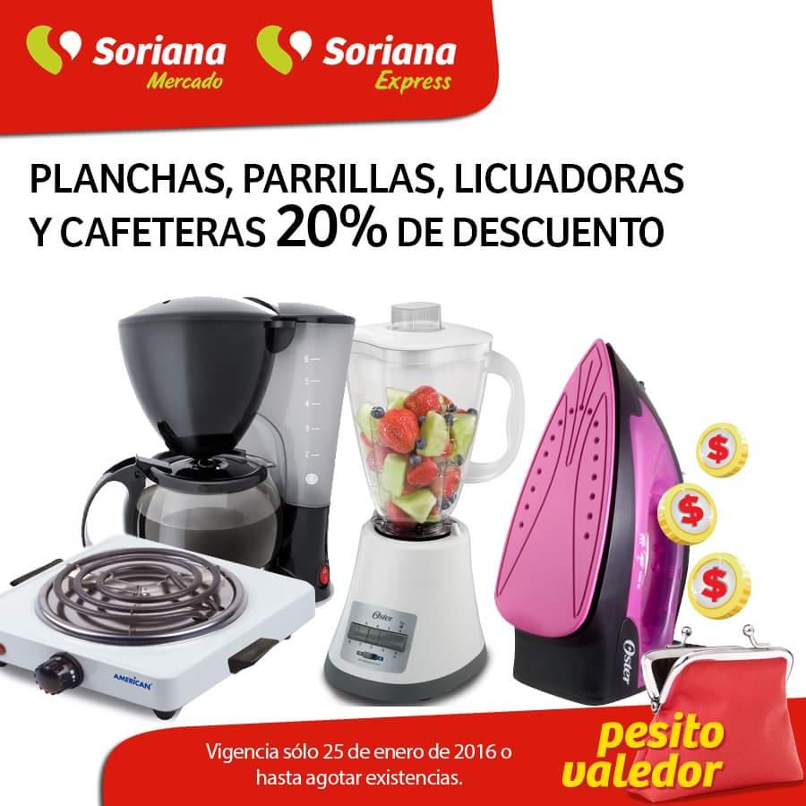 Soriana: 20% de descuento en Planchas, Parrillas, Licuadoras y Cafeteras