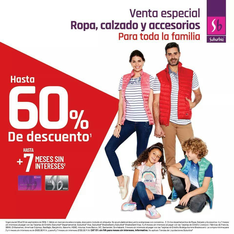 Suburbia: Hasta 60% de descuento en ropa, calzado y accesorios para toda la familia