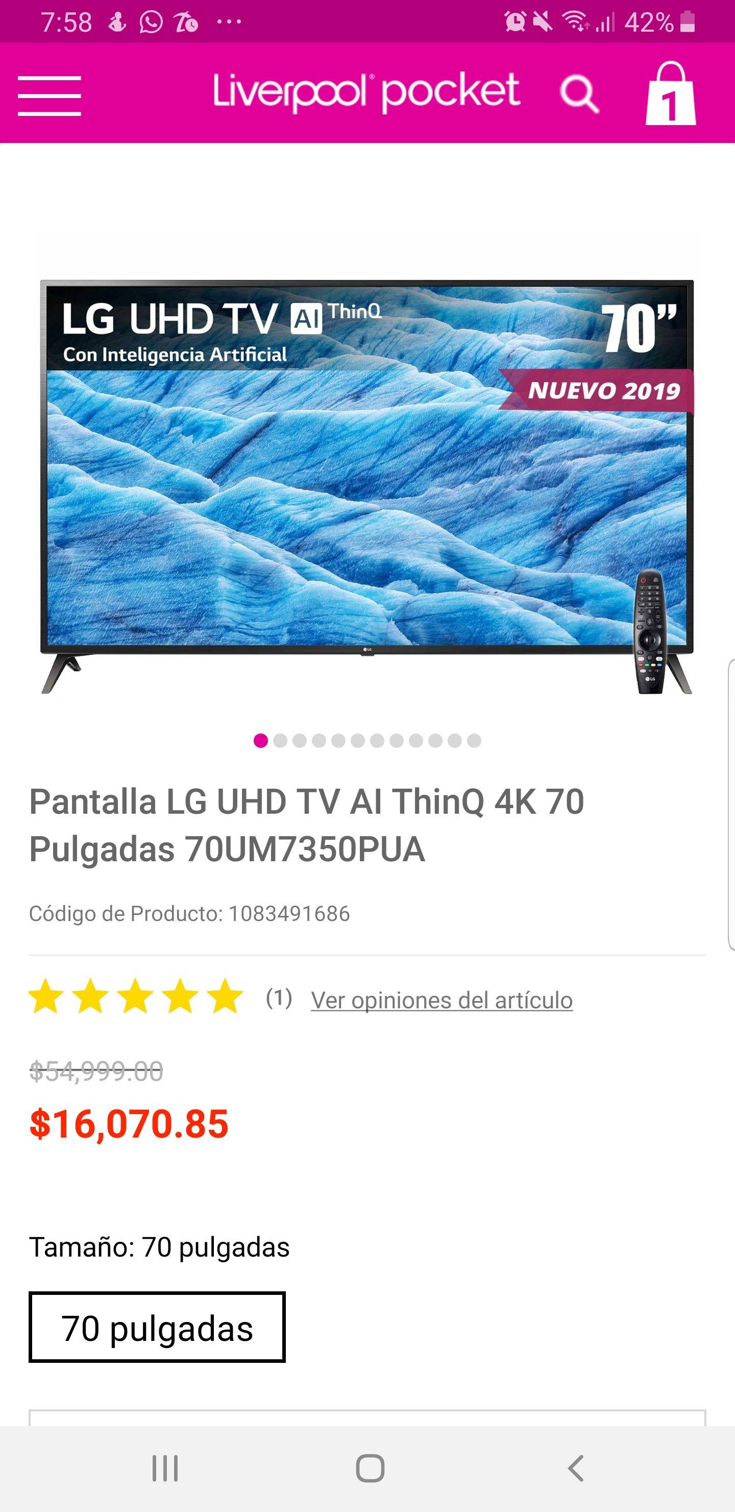 Liverpool: TV LG UHD 70 pulgadas con promoción CitiBanamex