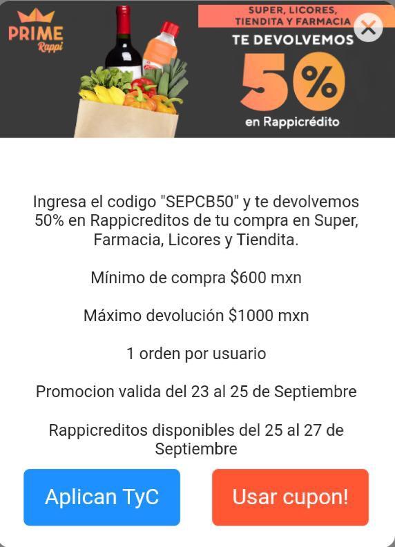 Rappi: FRAUDE 50% CASH Back en Súper, Farma, Licores y Tiendita