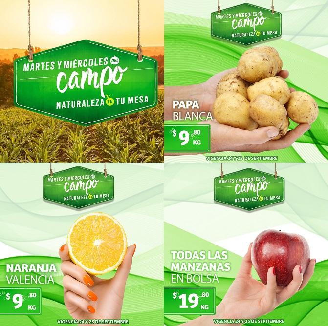 Soriana Híper, Súper y MEGA: Martes y Miércoles del Campo 24 y 25 Sept: Papa $9.80 kg... Naranja $9.80 kg... Manzanas en Bolsa $19.80 kg.