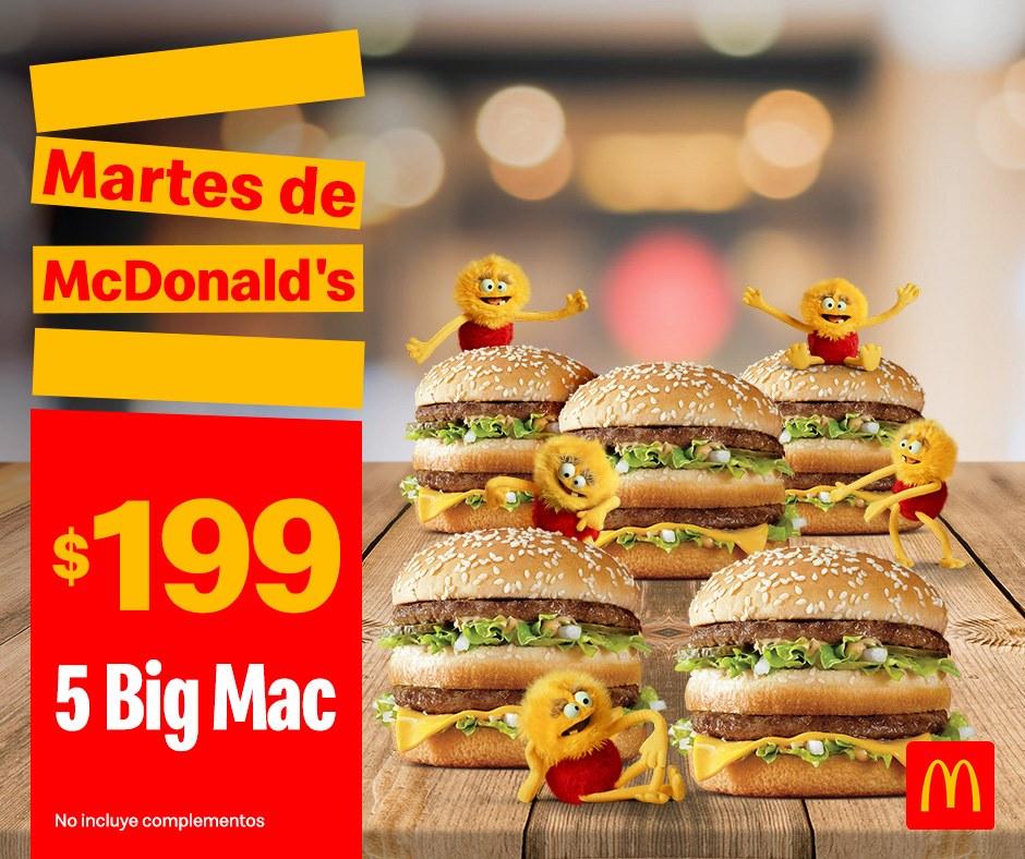 McDonald's: Martes de McDonald's Comida 24 Septiembre: 5 Big Mac $199