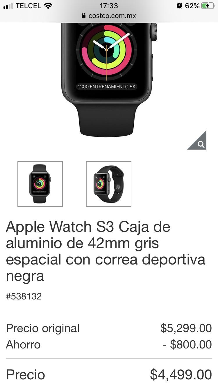 Costco: Apple Watch S3 Caja de aluminio de 42mm gris espacial con correa deportiva negra