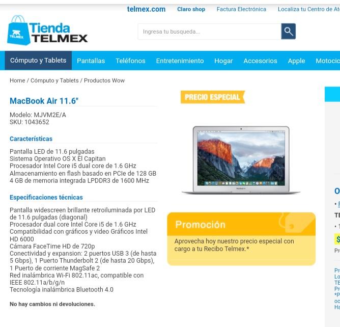 Telmex: MacBook Air 11.6''