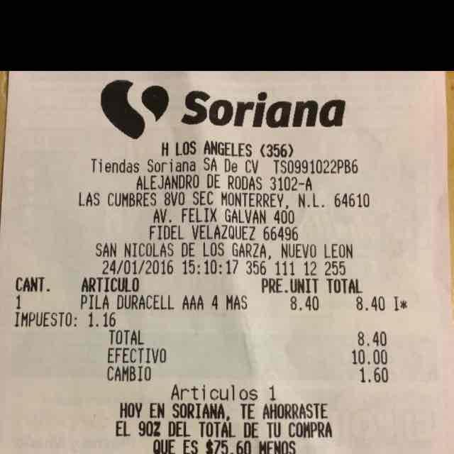 Soriana: Pilas Duracell AAA 4 más 1 gratis a $8.40