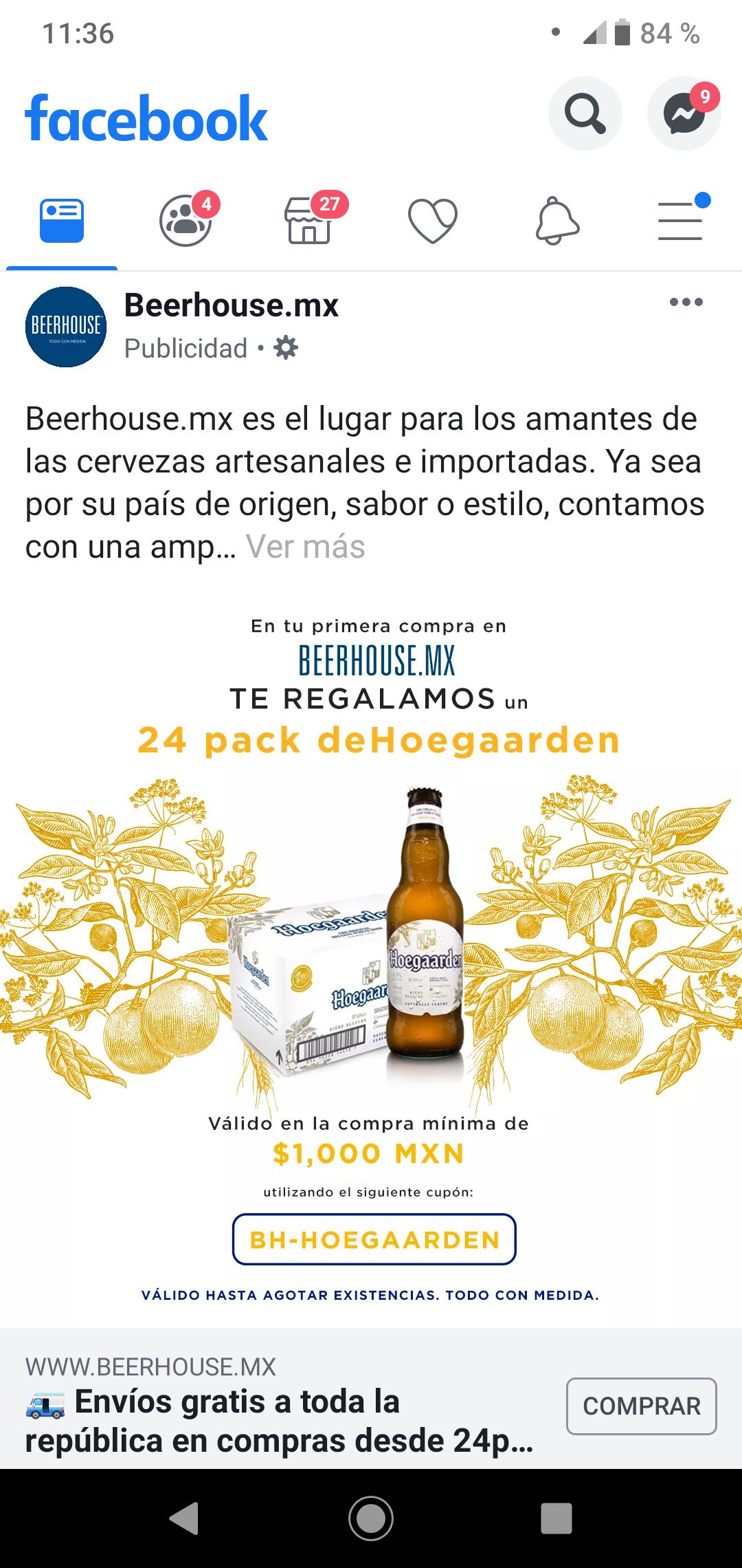 BeerHouse: 24 Pack Cerveza Hoegaarden Gratis En Compra Mínima De $1000 (nuevos usuarios)