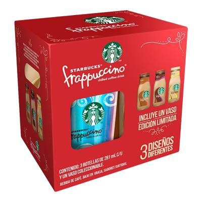 Walmart: Frappuccino Starbucks 3 bebidas de café 281 ml c/u + 1 vaso coleccionable