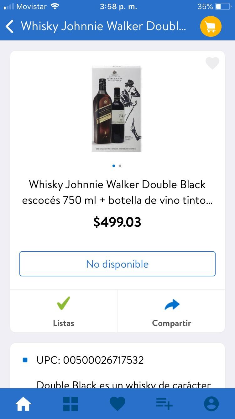 Walmart: Whisky JW DOUBLE BLACK+VINO TINTO
