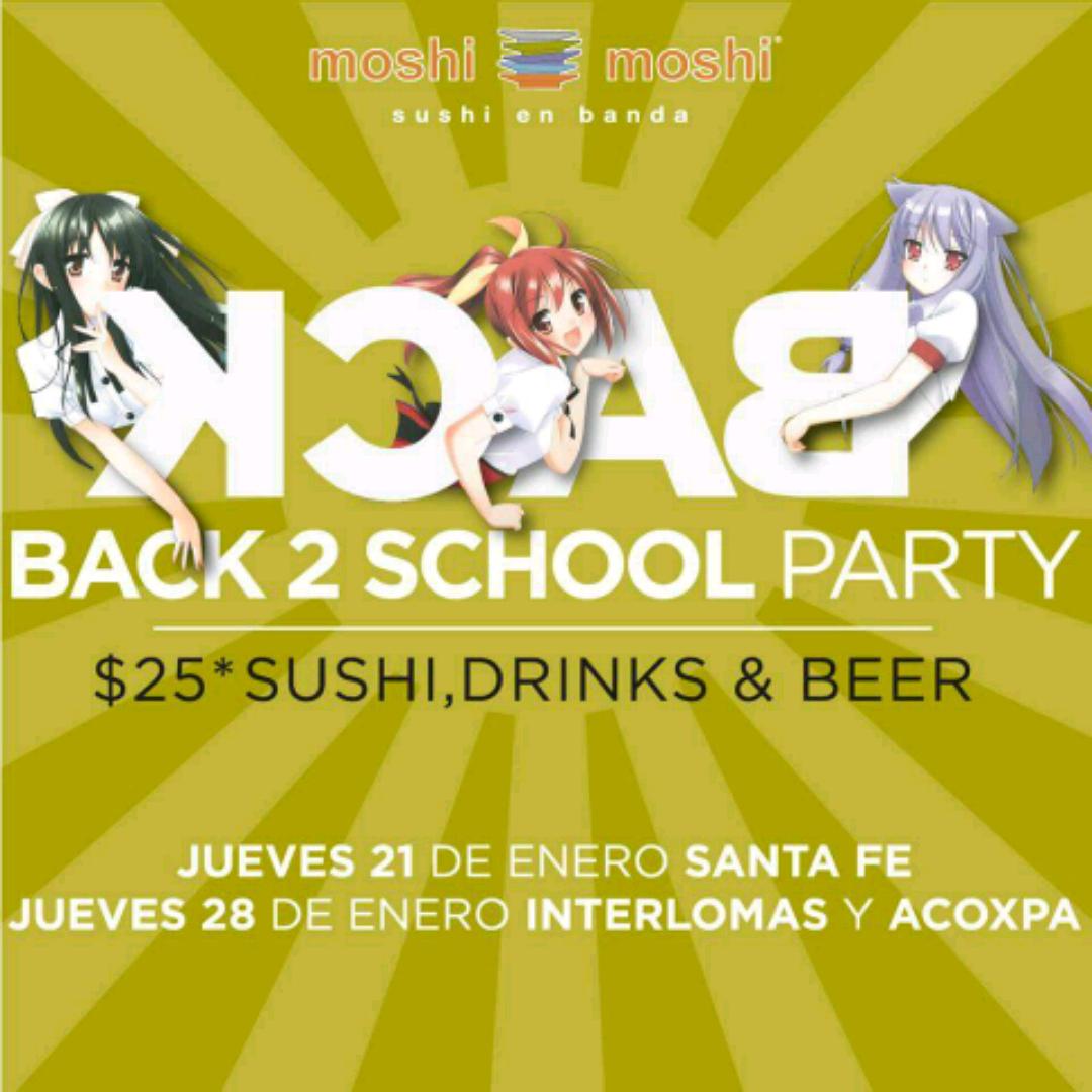 Moshi Moshi: sushi, bebidas y cervezas a $25 el 28 de enero (DF, sólo estudiantes)