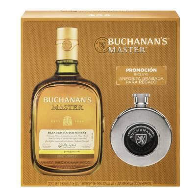 Walmart Súper: Whisky Buchanans Master escocés 750 ml + anforita grabada