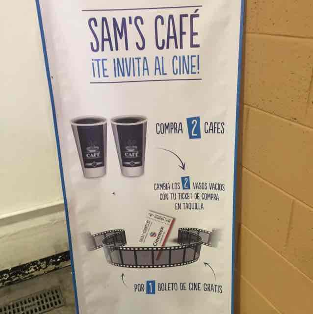 Sam's Club Café: boleto para el Cinemex gratis en la Compra de 2 Cafés.