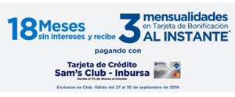 Sam's Club: 3 meses de bonificación al instante con Inbursa