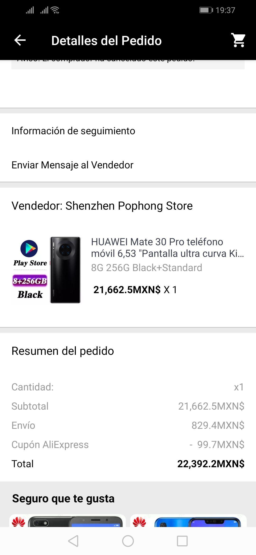 Aliexpress: Huawei Mate 30 Pro 250gb envío con DHL