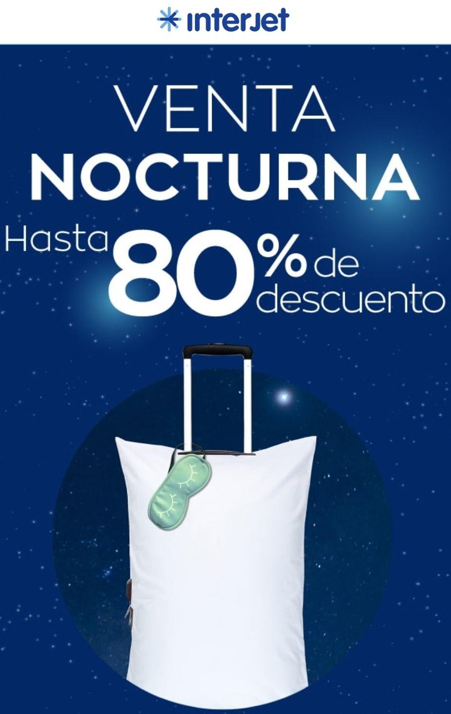 Interjet: Venta nocturna con hasta 80% de descuento (viajes desde hoy hasta el 30 de septiembre de 2020)