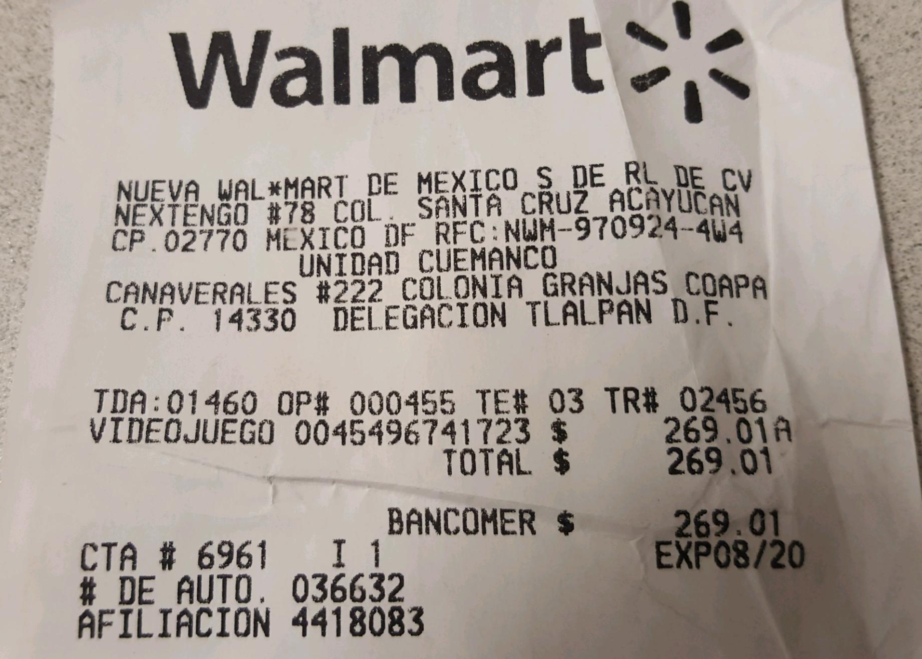 Walmart cuemanco: super mario 3D para 3DS a $269.01