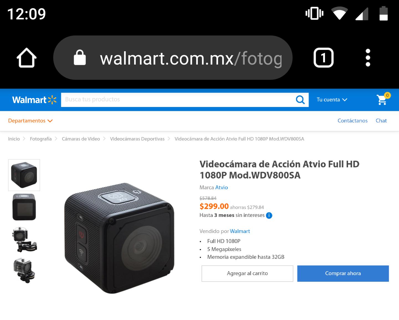 Walmart: Cámara de acción cubo Atvio full hd