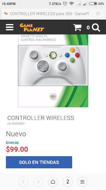 Game Planet: Control Xbox 360 Blanco a $99 (solo tienda física)