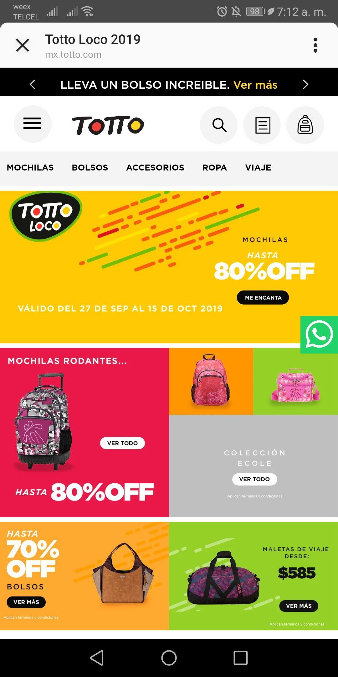 Totto: Hasta 80% de descuento en mochilas