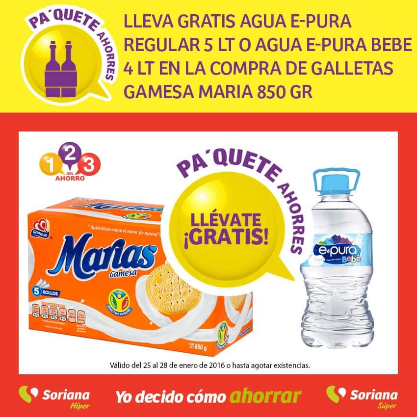Soriana: En la compra de galletas Gamesa Maria 850 gr Gratis Agua E-pura regular (5 lt) o Bebe (4 lt)