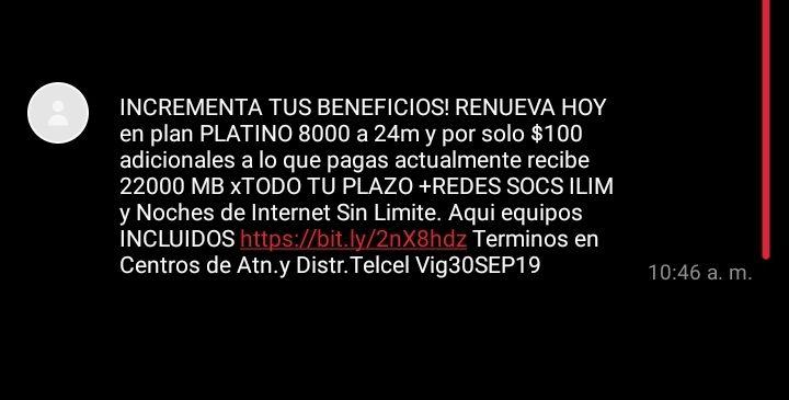 Plan Telcel Max Sin Limite Platino 8000 (22 Gb por 700)