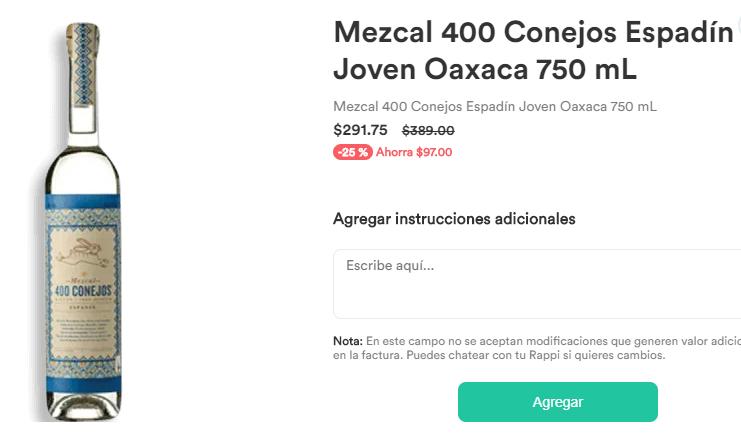 Rappi: 2 Mezcales 400 Conejos Rappi Chedraui Express + 50% Rappicréditos