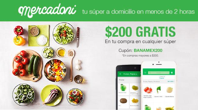 Mercadoni: Cupón de $200 en compra mínima de $300 con Débito Banamex