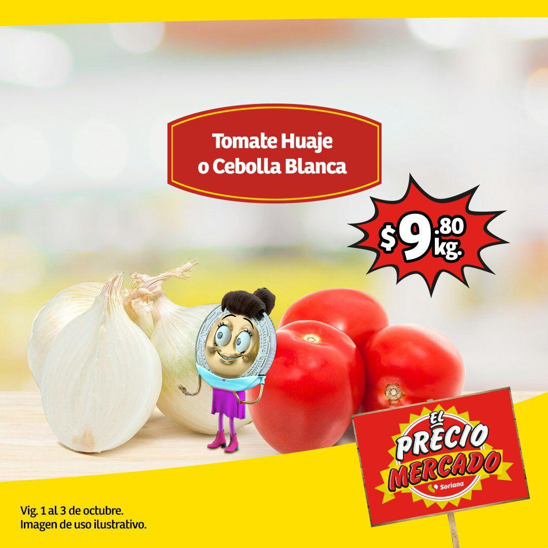 Soriana Mercado y Express: Jitomate Huaje $9.80 kg... Cebolla Blanca $9.80 kg... Manzana Golden en Bolsa $19.80 kg.