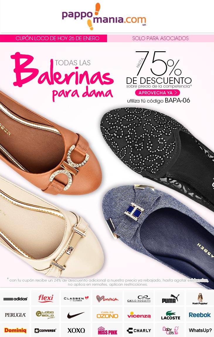 Pappomanía: hasta 75% de descuento en Balerinas para dama con cupón loco de hoy