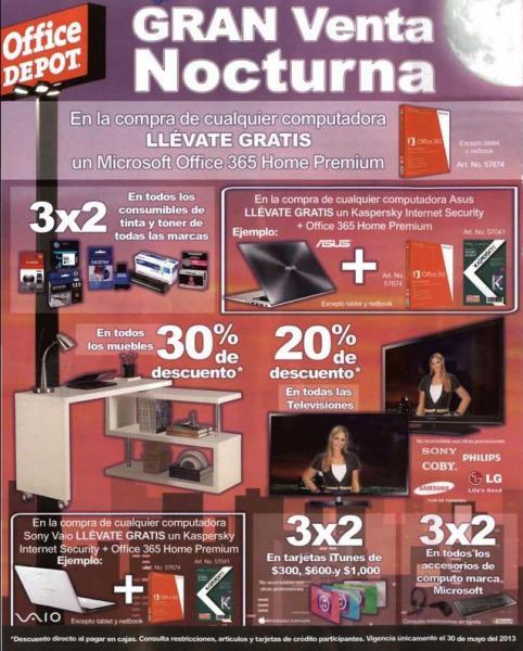 Venta Nocturna Office Depot mayo 30