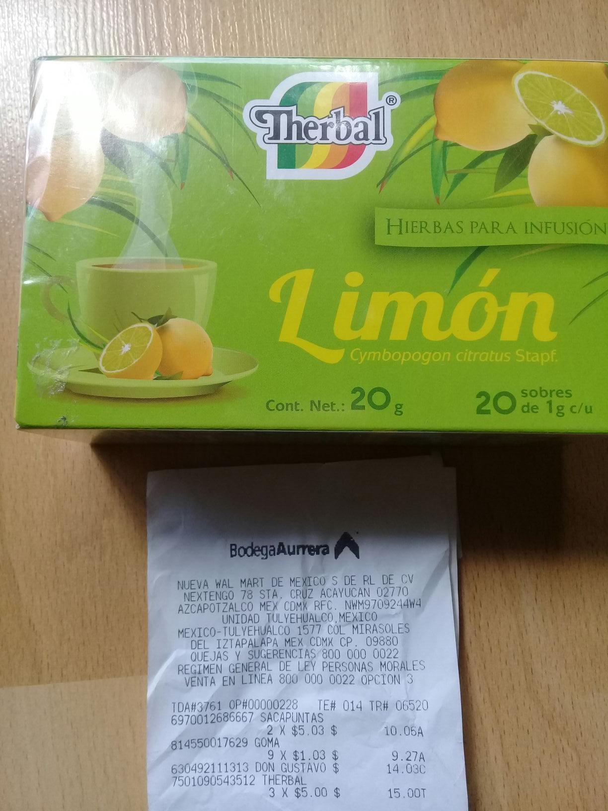 Bodega Aurrera 20 sobres de Té de limón