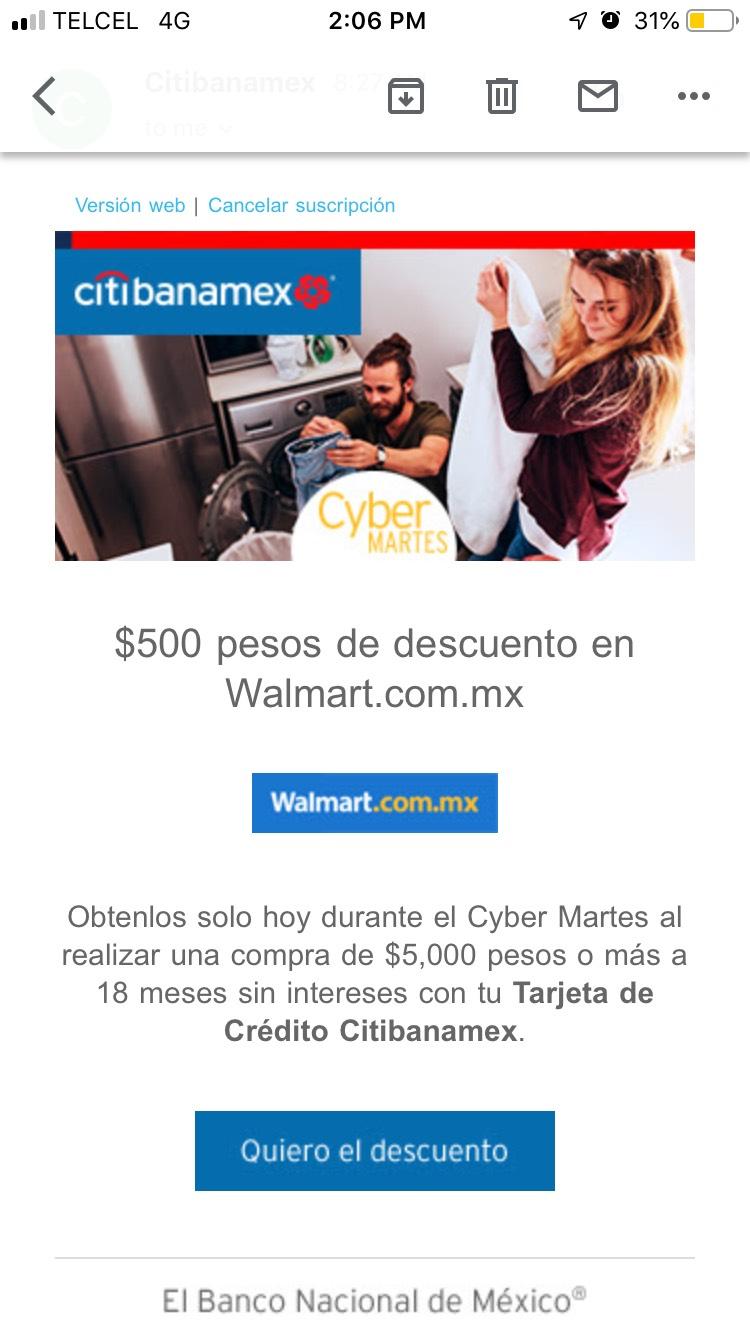 Walmart: 18 meses sin intereses y 500 pesos de descuento con Citibanamex