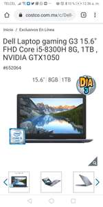 Costco: Dell laptop Gaming G3 i5-8300H NVIDIA GTX1050