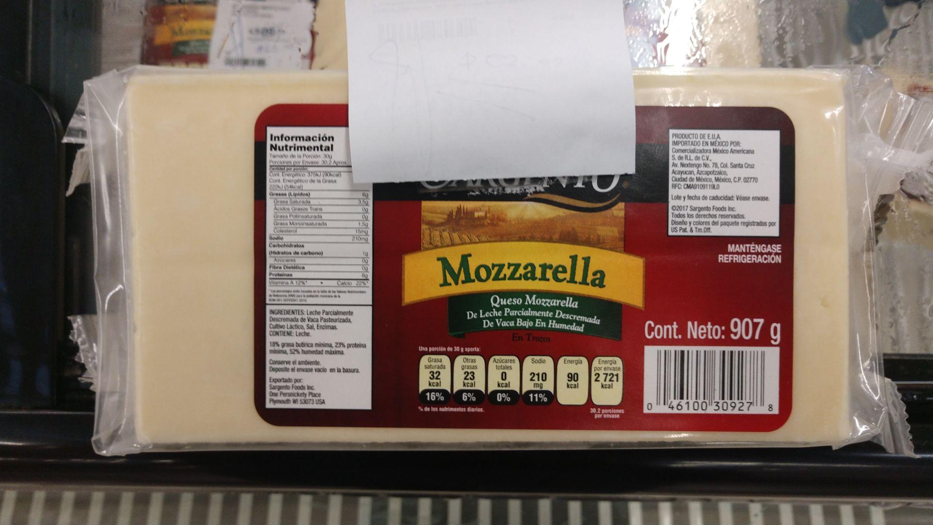 Sam's Club: Queso Mozzarella marca Sargento
