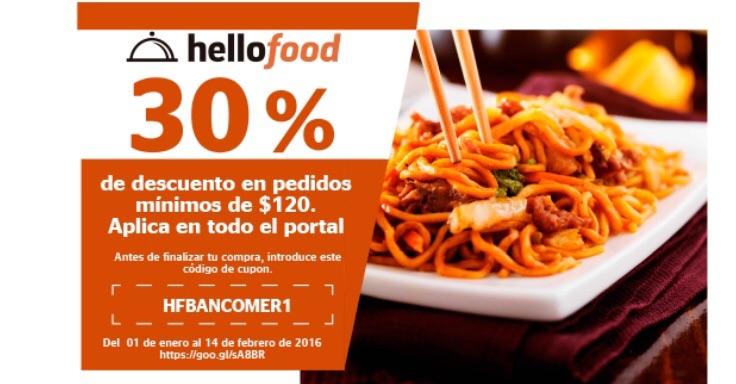Hellofood: 30% de descuento con Bancomer