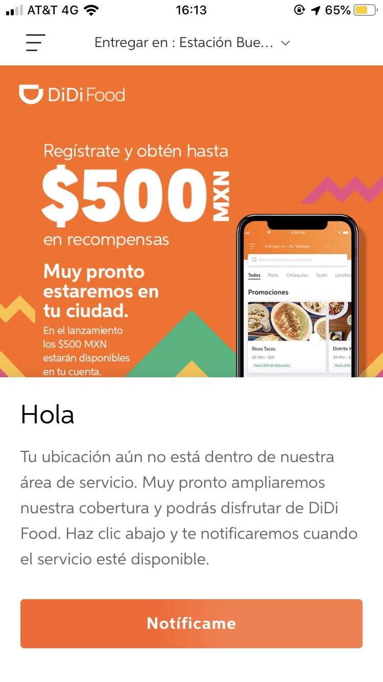 Lanzamiento didi Food CDMX y Mty $100
